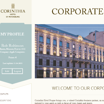 Создание сайта для гостиницы CORINTHIA